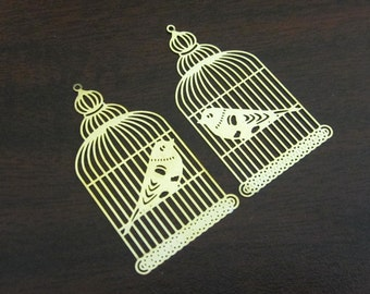 2 Pcs - Gold Plated Over Copper Laser Cut Filigree Bird Cage Earring Findings,Pendant,Earrings,Jewelry Findings,Links (40x23MM) SL2030