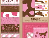 Digital Scrapbook Paper Pack - COWGIRL - Instant Download