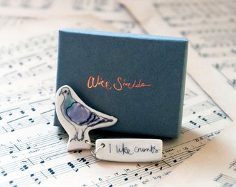 I Like Crumbs Pigeon Brooch