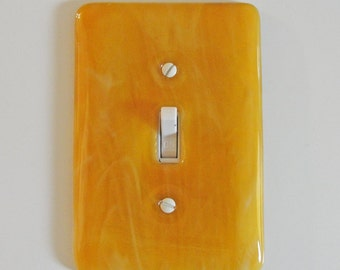 Fused Glass Light Switch Plate Amber and White Swirls Home Decor Wall Art Outlet Cover Switch Plate Cover Gifts Under 50 Dollars