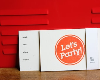 Fun Party Invite, Silkscreen Postcards (5-pack)