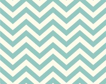 Organic Aqua Chevron Fabric - Birch Mod Basics 1/2 Yard