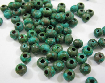Verdigris COPPER BEADS 4.8MM Rondelles 25 Pieces