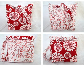 Knitting Project Bag/Crochet Project Bag (reversible wristlet), OOAK with red flowers
