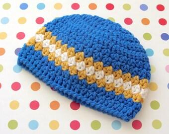Boy Baby Hat, Crochet Baby Beanie, Crochet Baby Hat, Blue Crochet Infant Hat, 0 to 3 Months