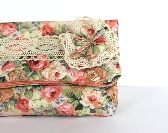 Floral bridesmaid clutch, Fold over clutch Flower bag Pastel bridesmaid Lace purse Spring wedding Bridesmaid bag Shabby chic clutch Pink bag