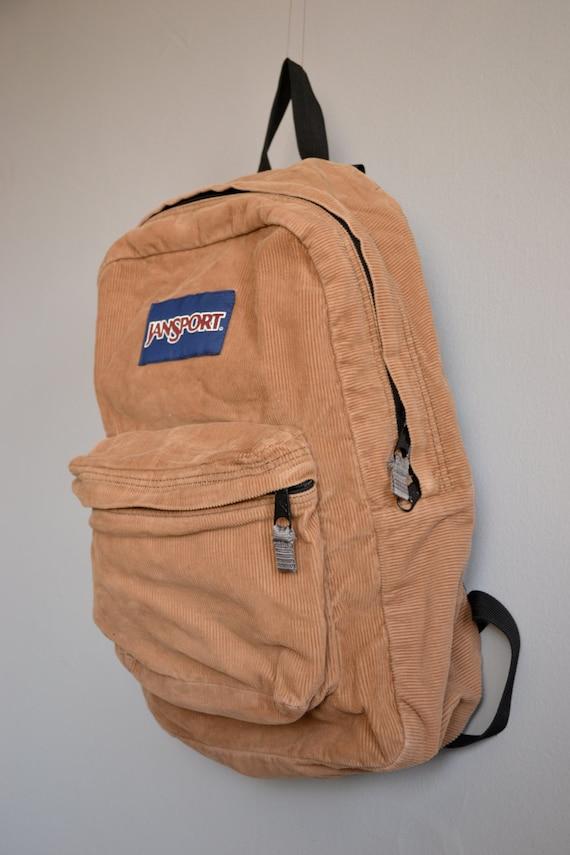 Vintage Tan Corduroy Jansport Backpack