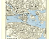Stockholm Vintage City Map 1955  Street Plan,  Sweden - CarambasVintage