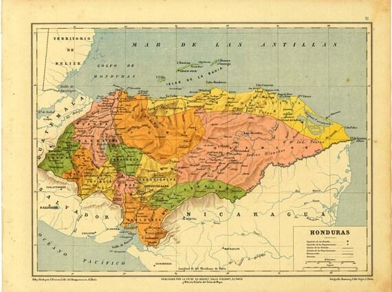 1899 Antique  Map of Honduras