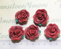 6 pcs per pack 25mm Red Rose Clay Beads drilled side to side