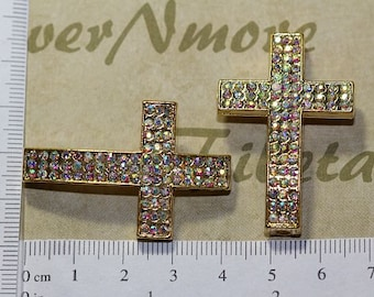 3 pcs per pack 42x26mm 8mm thickness Clear AB Rhinestone Sideways Cross Gold Finish Lead Free Pewter