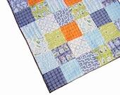 "Baby Boy Quilt ""Backyard Baby"", crib quilt, baby blanket, patchwork quilt, playmat, nursery bedding, blue, green, orange"