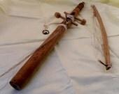 Vintage Egytian Horse Hair Violin - Rababa .  Indigenous Hardwood  Bow & Violin. Unique Handmade Crafted Instrument.