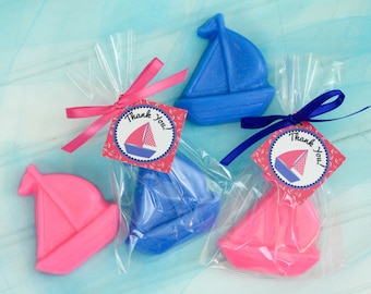 10 BOAT SOAP {Favors} - Nautical themed Birthday, Sail Boat Soaps, Nautical Baby Shower, Navy Blue Hot Pink, Wedding Soap Favors