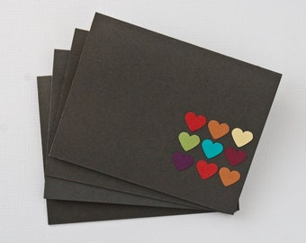 Simple Note Cards Rainbow Heart Thank You Card Stationery Set Grey Blank Notes