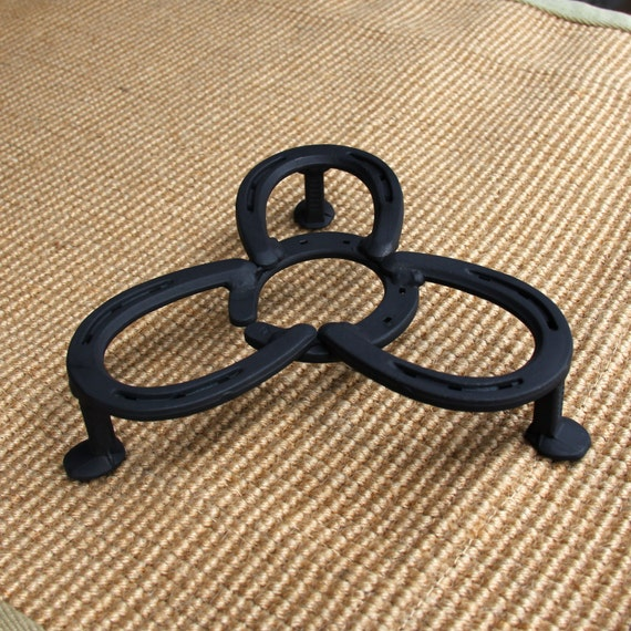 Dutch camp oven lid stand, table protection for hot pots, authentic horseshoe western decor,  Made to ORDER