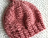 So Soft Knit Baby Girl Hat, Cozy Knitted Baby Beanie, Snuggly Hat, Newborn Girl Hat, Pink Baby Hat, Pink Hat with Ribbed Brim