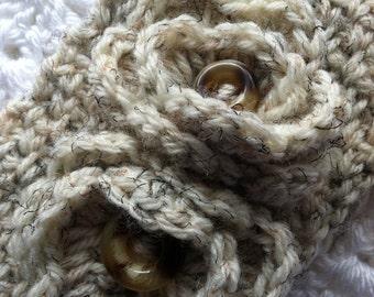 Crochet Women's or Child's Headwarmer, Brown and Tan, Crochet Headwarmer, Winter Hat, Accessories, Headwarmer with Flowers