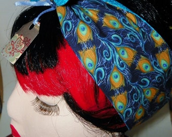 Retro Inspired Reversible Rockabilly Head Wrap Peacock Feathers Blue