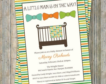 little man baby shower invite, Bow tie, Crib with blanket, digital, printable file
