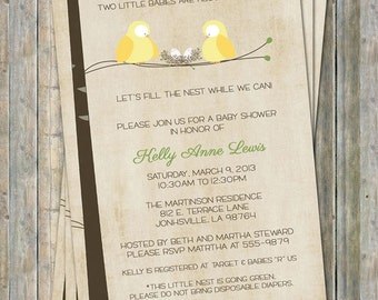 Bird Twin baby shower, birds and nest couples baby shower , digital, printable file