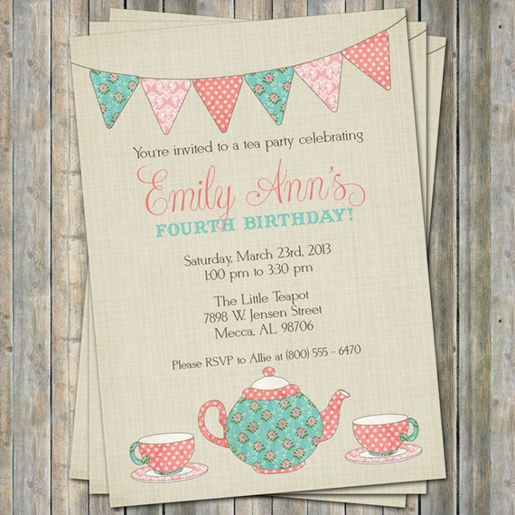 Tea Party Birthday Invitation Time For Little