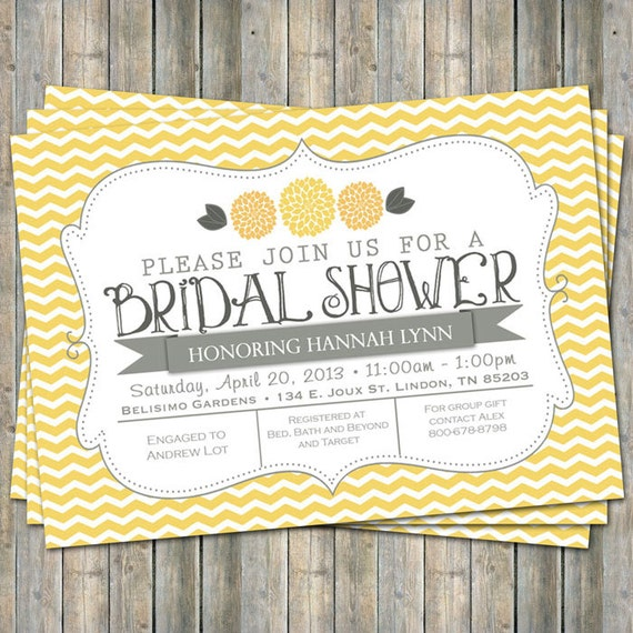 Yellow chevron bridal shower invitation with flowers yellow for Yellow bridal shower invitations
