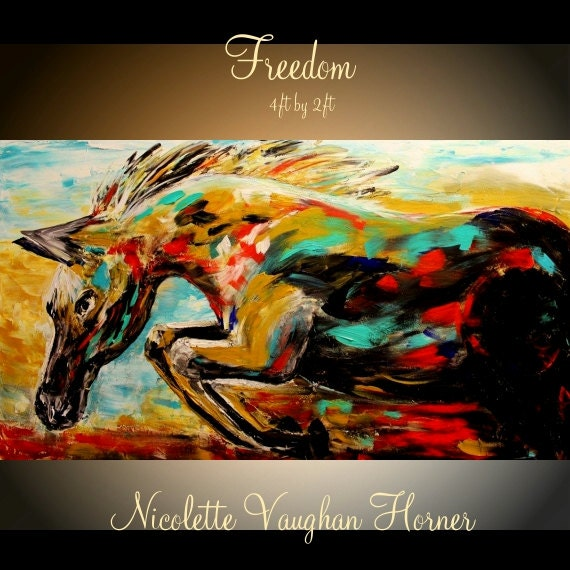 """ORIGINAL Abstract Oil gallery wrap canvas-Contemporary  multicolor Oil Horse painting by Nicolette Vaughan Horner 48""""x24"""""""