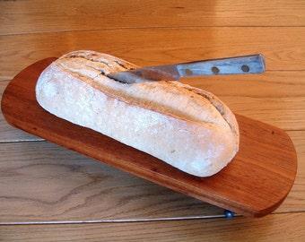 Rustic Cherry Wood Serving Tray, Cheese Board, Vintage Hinge Feet Bread Board