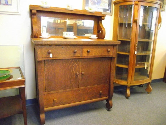 Antique Empire Tiger Oak Buffet Sideboard Server Cabinet With