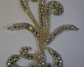 Crystal Swirl Appliques Beads and RhinestonesOne piece