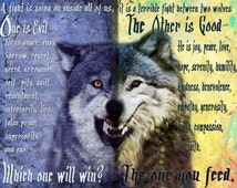 The one you feed, cherokee legend,wolf art,painting,poster,nature art, battle between two wolves
