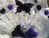 Fan Bouquet Bridal Bouquet in Black and Purple Celestial Style Fan Bouquet