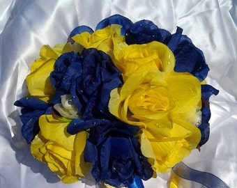 Blue Tear Drop Blue and Yellow Bridal Bouquet with tear drop charm