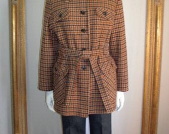Vintage 1970's Swingles Multi Colored Plaid Wool Jacket - Size Small
