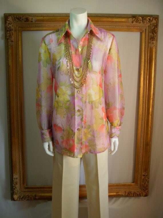 CLEARANCE Vintage 1970's Pink Floral Print Sheer Long Sleeve Blouse - Size Medium