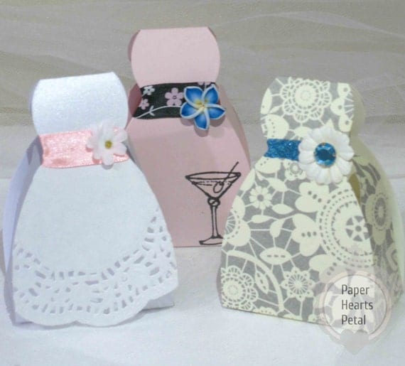 Set of 12 diy wedding gown bridal dress favor box great for for Wedding dress in a box