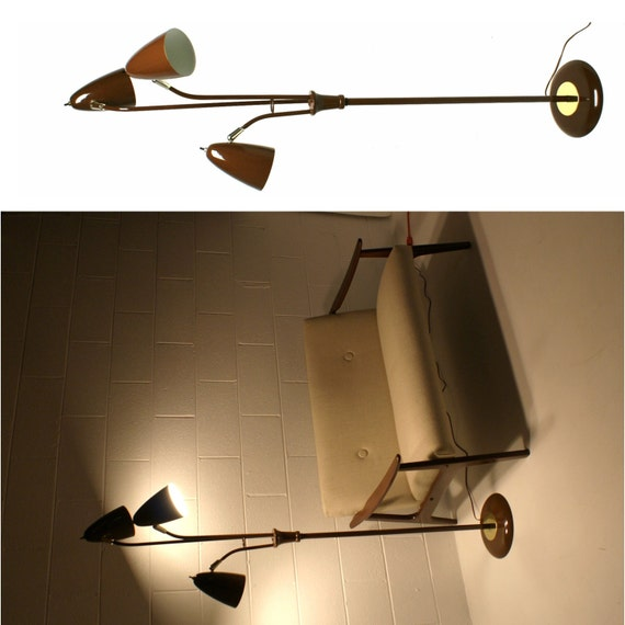 Modern Metal Floor Lamp: 60s Vintage MID CENTURY MODERN Brown Metal Floor Lamp With 3