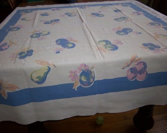 Vintage Tablecloth with Fruit made by Thomaston Mills 1930's-40's white with blue, pink, peach