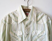 Vintage Mens Western Shirt. Pearl Snappy Button Up. Celery Green, White, & Pale Yellow Striped