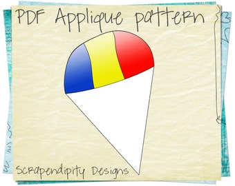 Snow Cone Applique Template - Carnival Applique Pattern / Kids Food Quilt Template / Baby Clothing / Iron on Transfer Pattern / PDF AP75-D