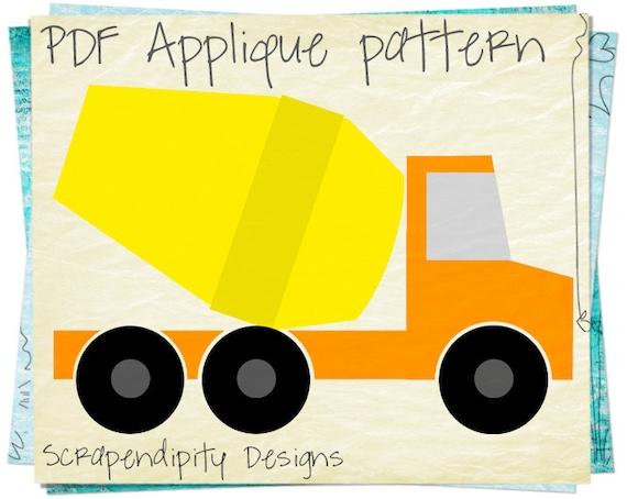 Cement Truck Applique Pattern - Construction Applique Template / Baby Nursery Quilt / Kids Boys Truck Shirt / Road Wall Hanging AP232-D