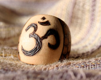 Om Ring Pyrography Size 8