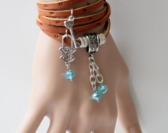 Leather Wrap Bracelet - Blue Key Ostrich