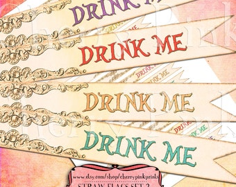 """ALICE STRAW FLAGS """"Drink Me"""" printable straw flags digital collage sheet, Alice decoration party printable Alice party supply"""