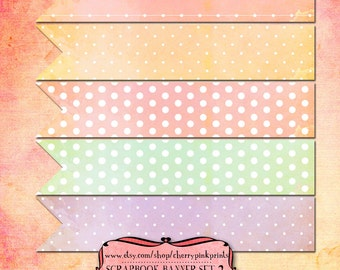 10 Scrapbook Banners , spotty Scrapbook clip art digital download for scrapbooking, party printables and graphic design.