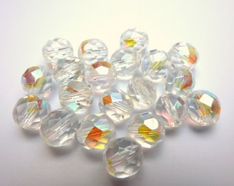 20 czech glass beads, 8mm, crystal AB