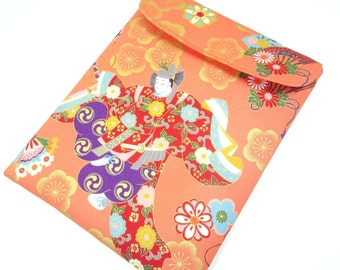 Fabric Galaxy Tab sleeves, Japanese gadget covers, Luxury gift for her Kimono cotton fabric Japanese Dancing Orange