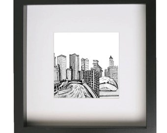 CHICAGO Drawing - Fits IKEA frame RIBBA