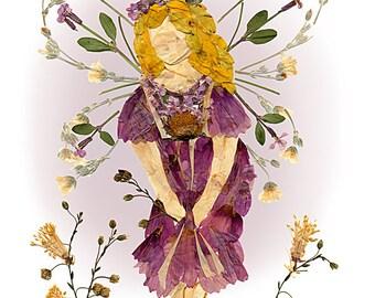 """Flower Fairy 8 x 10 Fine Art Print - Original """"Fairy of Forgiveness"""" Fantasy Design"""